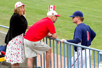 Pitcher Anthony Pluta chatting up the fans before the game.